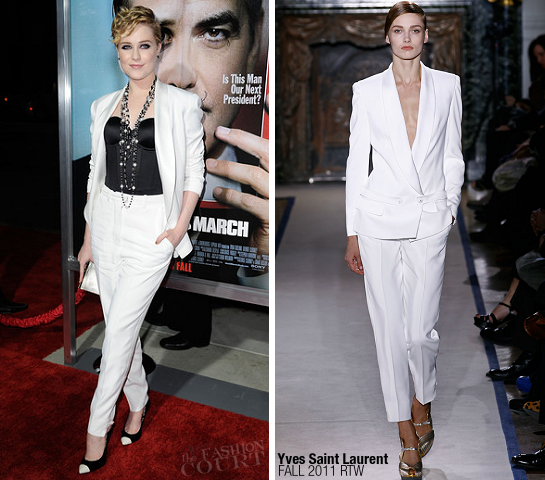 Evan Rachel Wood in Yves Saint Laurent | 'The Ides of March' Premiere