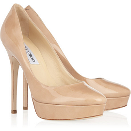 Jimmy Choo COSMIC Platform Pumps - Nude Leather