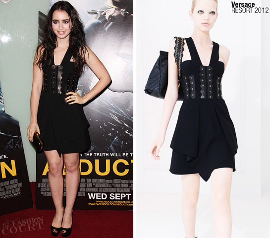 Lily Collins in Versace | 'Abduction' London Premiere
