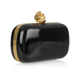Alexander McQueen Punk Skull Glossed-Leather Box Clutch