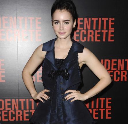 Lily Collins in Versace   'Abduction' Paris Premiere