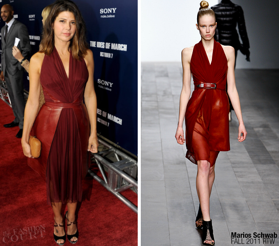 Marisa Tomei in Marios Schwab | 'The Ides of March' Premiere