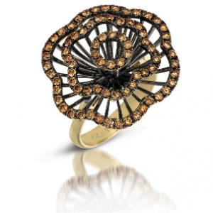 Le Vian 18k yellow gold flower ring with 1.24 cts of Chocolate Diamonds