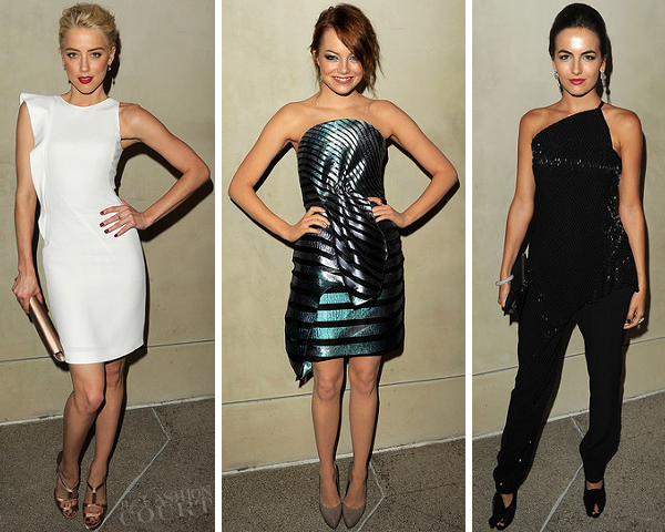 Amber Heard, Emma Stone & Camilla Belle in Armani | Vanity Fair Private Dinner