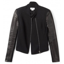 Helmut Lang Eon Wool Leather Sleeve Jacket