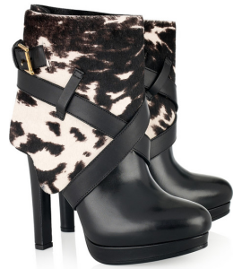 Alexander McQueen Animal Print Calf Hair and Leather Boots