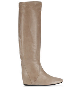 Lanvin Concealed-Wedge Crinkled-Leather Knee Boots