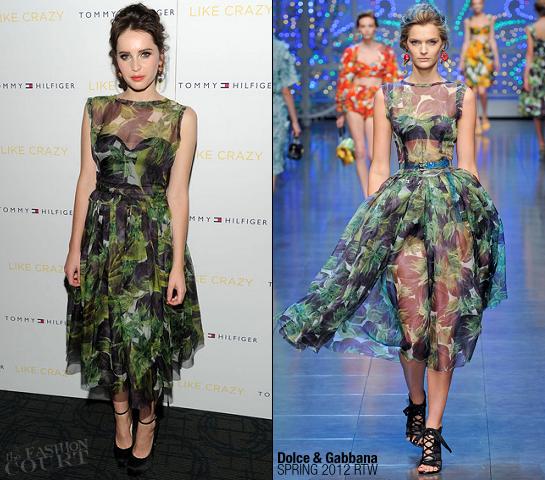 Felicity Jones in Dolce & Gabbana | 'Like Crazy' NY Premiere