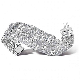 Chopard Platinum Cuff With 151 Fancy Cut Diamonds