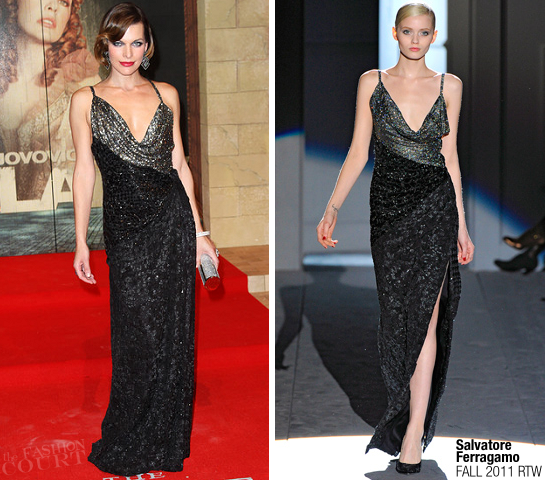 Milla Jovovich in Salvatore Ferragamo | 'The Three Musketeers' London Premiere