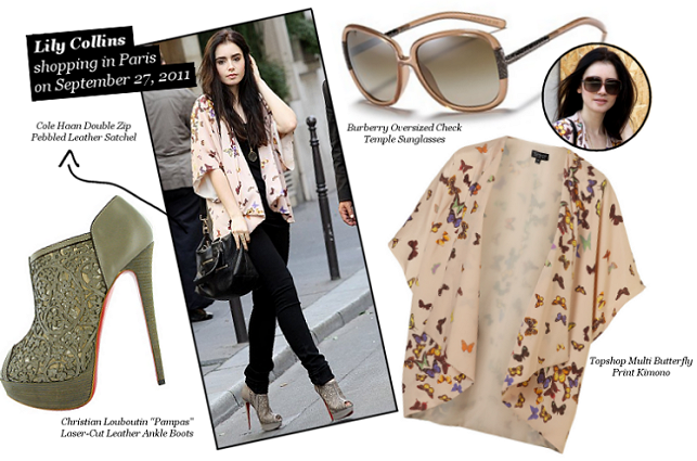 Lily Collins takes on Paris in Topshop, Burberry and Christian Louboutin!