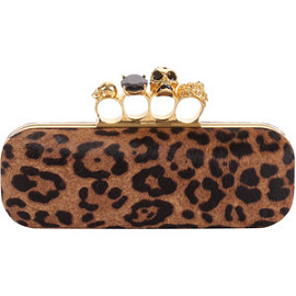 Alexander McQueen Animal Print Knuckle-Box Clutch