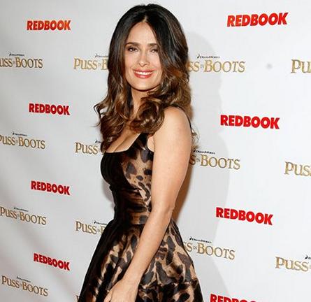 Salma Hayek in Alexander McQueen   'Puss In Boots' NY Premiere