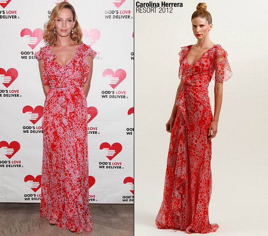 Uma Thurman in Carolina Herrera | 2011 Golden Heart Awards