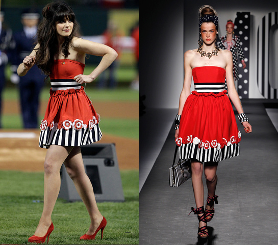 Zooey Deschanel in Moschino | MLB World Series Game 4 National Anthem Performance