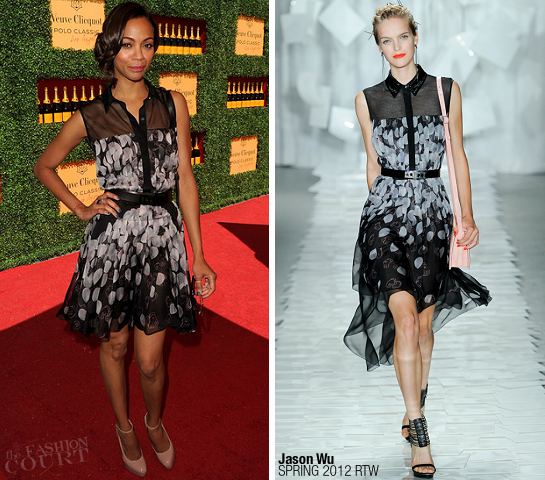 Zoe Saldana in Jason Wu | Veuve Clicquot Polo Classic Los Angeles