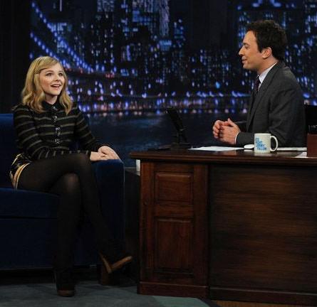 Chloe Moretz in Proenza Schouler   'Late Night with Jimmy Fallon'