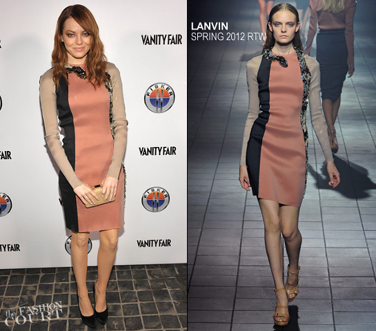 Emma Stone in Lanvin | Vanity Fair Toast Dreamworks Pictures Golden Globes Best Drama Nominations 'The Help' And 'War Horse'