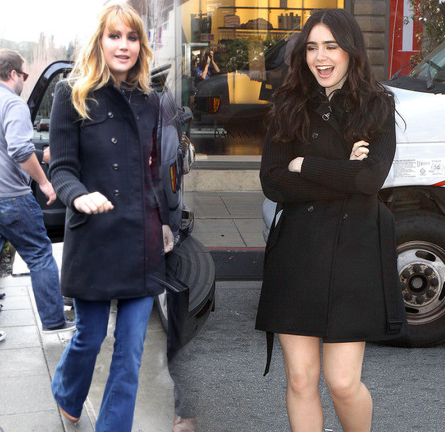 Who Wore It Best? Jennifer Lawrence & Lily Collins Wear in the Popular FAY Trench Coat