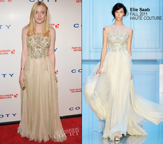 Dakota Fanning in Elie Saab Haute Couture | 2012 DKMS Linked Against Blood Cancer Gala