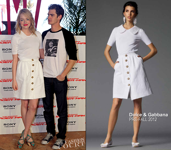 Emma Stone in Dolce & Gabbana | 'The Amazing Spider-Man' Cancun Photocall