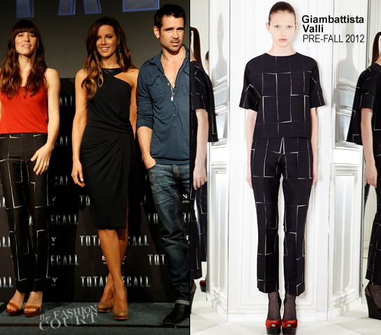 Jessica Biel in Giambattista Valli and Kate Beckinsale in J. Mendel | 'Total Recall' Cancun Photocall