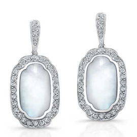 Kabana 14 K Diamond and White Mother of Pearl Earrings