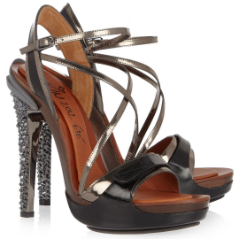 Lanvin Opanca Crystal-Embellished Leather Sandals