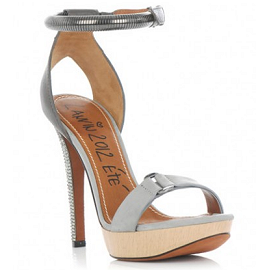 Lanvin Metallic Detailed Suede and Wood Platform Sandals