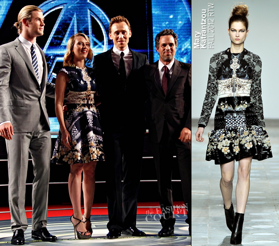 Scarlett Johansson in Mary Katrantzou | 'The Avengers' Rome Premiere