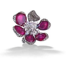 Arunashi Africa Ruby, Sapphire and Diamond Ring