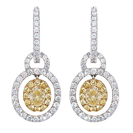 Blue Nile Red Carpet White and Yellow Diamond Drop Earrings