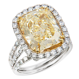 Blue Nile Red Carpet White and Yellow Diamond Ring