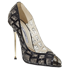 Brian Atwood ANISE Black Lace Pumps with Patent Trim
