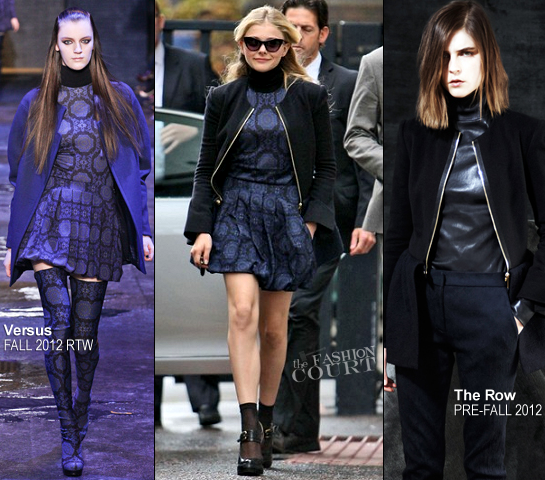 Chloe Moretz in Versus & The Row | Promoting 'Dark Shadows' in London