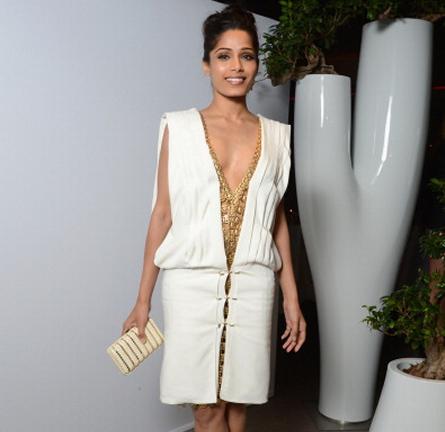 Freida Pinto in Paco Rabanne | L'Oréal Paris 15th Anniversary Dinner – 2012 Cannes Film Festival