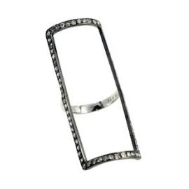 JHadley Rectangular Pave Diamond Hollow Ring