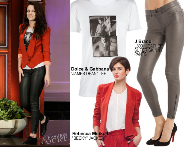 Kristen Stewart in Rebecca Minkoff, Dolce & Gabbana and J Brand | 'The Tonight Show with Jay Leno'