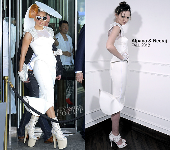 Lady Gaga Wears a Double Peplum Alpana & Neeraj Dress in Hong Kong!