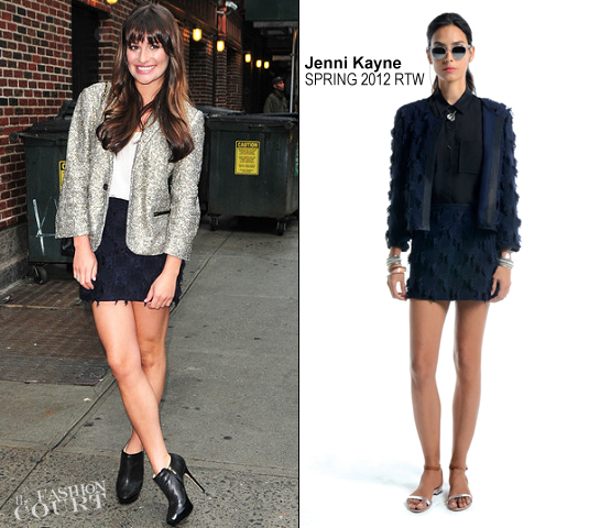 Lea Michele in Zadig & Voltaire and Jenni Kayne | Arriving for the 'Late Show with David Letterman'