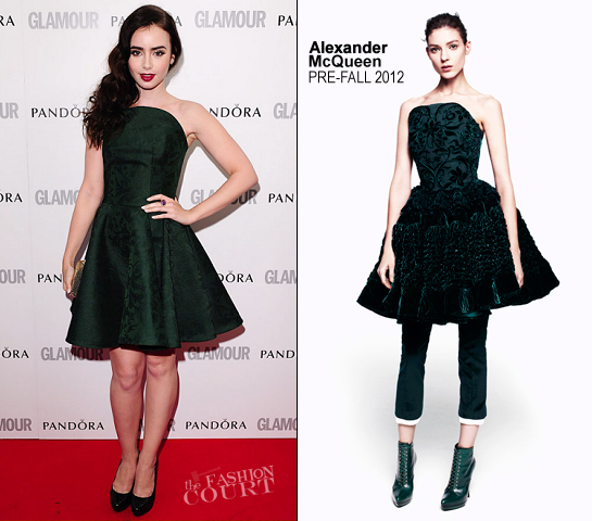 Lily Collins in Alexander McQueen | Glamour Women of the Year Awards 2012