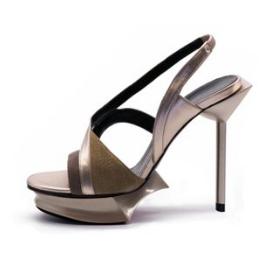 MAISON DES TALONS Metallic Platform Slingback Sandals