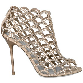 Sergio Rossi Crystal Caged Ankle Boots with Open Toe