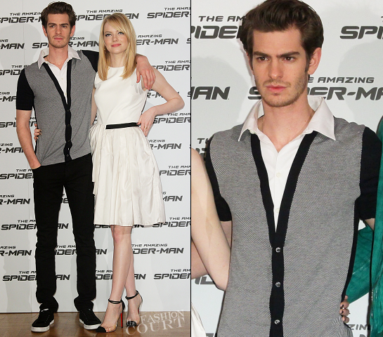 Andrew Garfield in Ferragamo & Burberry | 'The Amazing Spider-Man' Rome Photocall