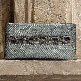 CHANEL Metallised Python Jewel-Embellished Clutch - Pre-Fall 2012