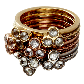 dalla nonna portafortuna stacking rings in silver, yellow gold and rose gold