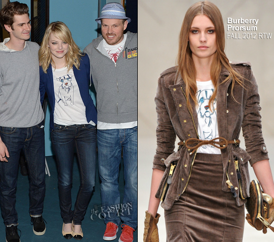 Emma Stone in Burberry Prorsum | 'Be Amazing' Stand Up Volunteer Initiative