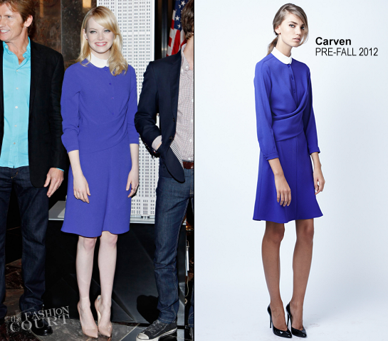 Emma Stone in Carven | The Cast of 'The Amazing Spider-Man' Visit the Empire State Building