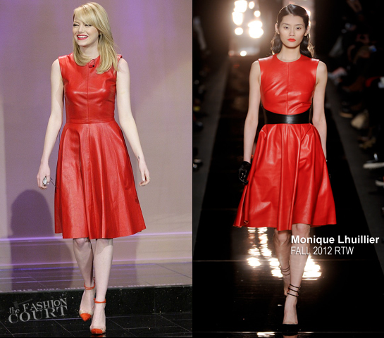Emma Stone in Monique Lhuillier | 'The Tonight Show with Jay Leno'