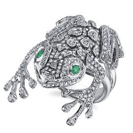Hellmuth 1.28ct. Diamond Frog Ring with Emeralds